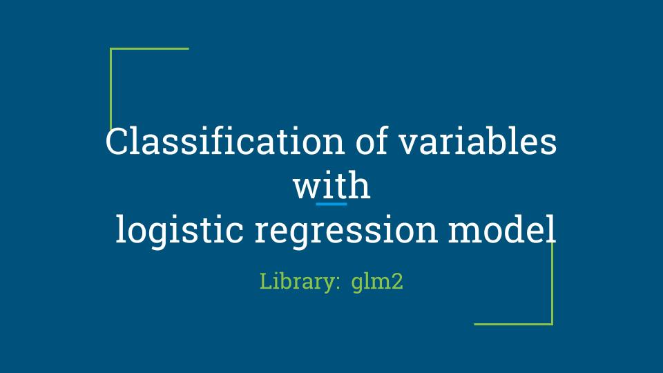 Classification of variables with R