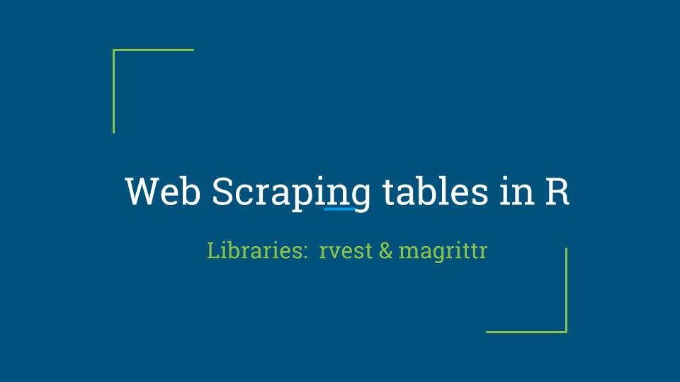 Web Scraping of tables in R